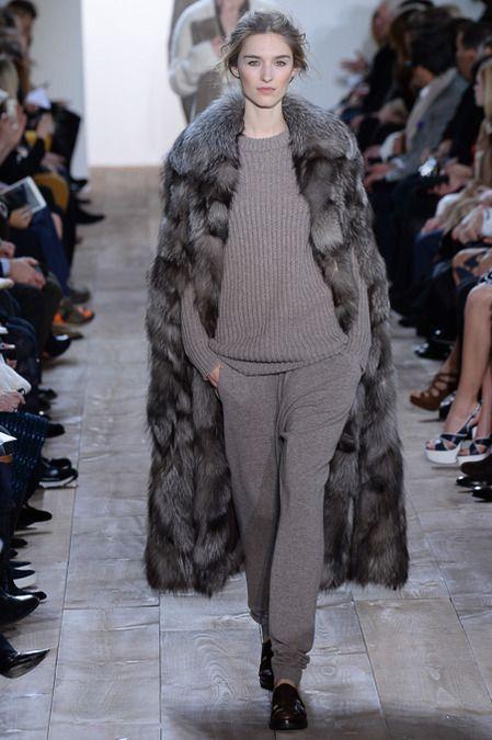 Michael Kors F/W 2014, fur coat, sweatpants, grey sweater