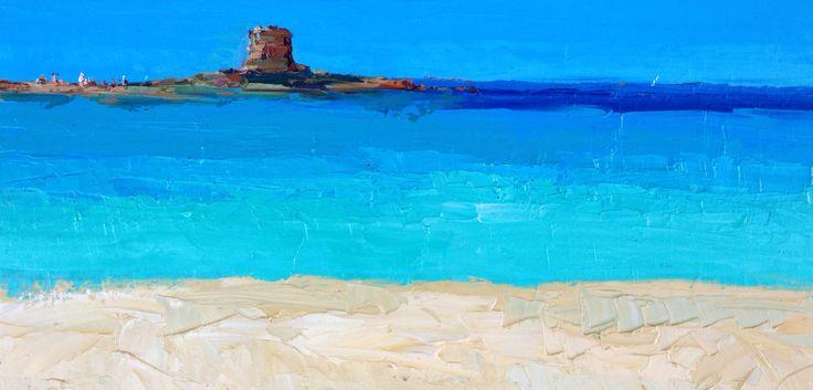 Italian original painting abstract beach Stintino Sardinia sea seascape modern art oil on canvas 60x120 cm Sardegna Italy italia
