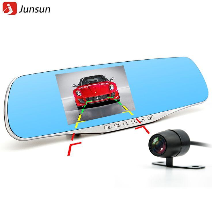 Junsun 2016車のカメラデュアルレンズバックミラーdvrレコーダービデオレジストラビデオカメラ駐車モニターナイトビジョンブラックボックス