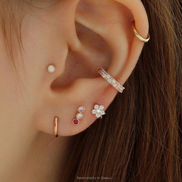 Bar Stud Earrings, Cute Earrings, Crystal Earrings, Diamond Earrings, Flower Earrings, Diamond Jewelry, Cartilage Earrings, Statement Earrings, Upper Ear Earrings