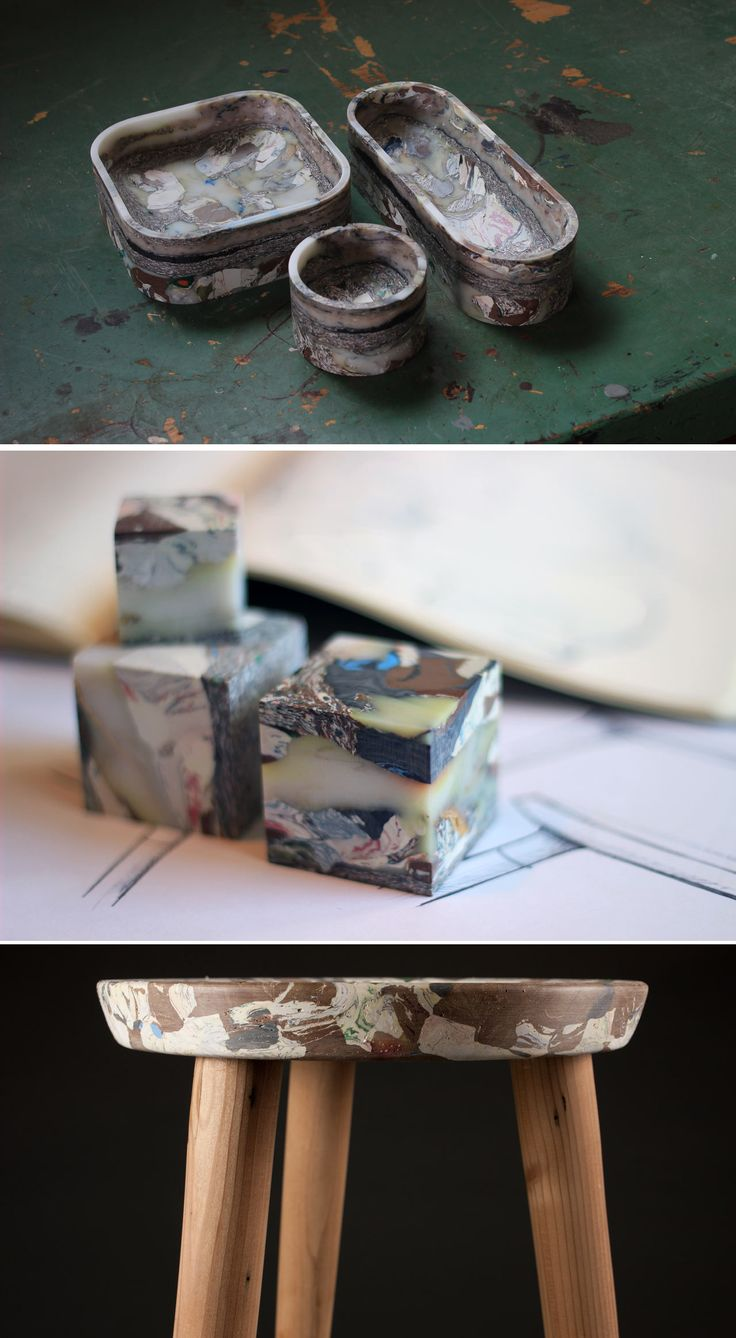 Objects made from recycled plastic trash –they are both beautiful and useful.