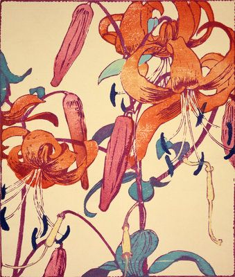 Tiger Lilies by Mabel Royds - #textile