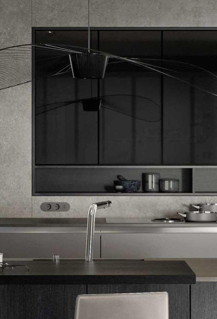 Bovenkasten van de Siematic PURE design keuken collectie ut de PURE Lifestyle met zwart getint glas en in een nis geintegreerde combinatie van schappen en bovenkasten #siematic #designkeuken