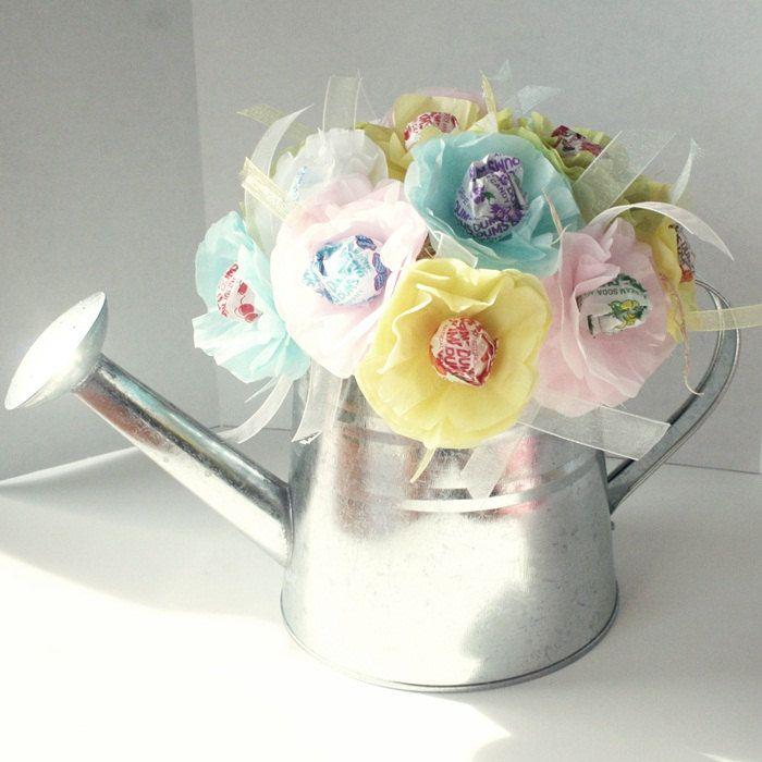Paper Flower Arrangement Ideas: Tissue Paper Flowers Suckers Lollipops Spring Summer