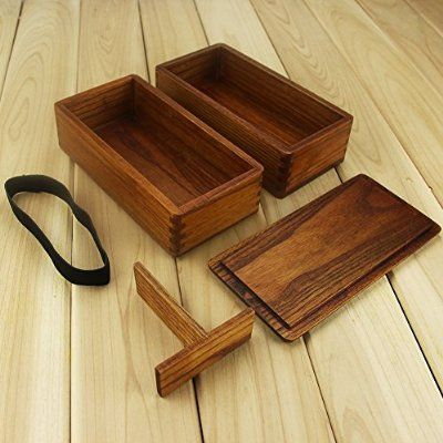 Lunch boxes, Aoosy Japanese Traditional Natural Wooden Lunch box Square Double Layer Women's Men's Wood Bento Box