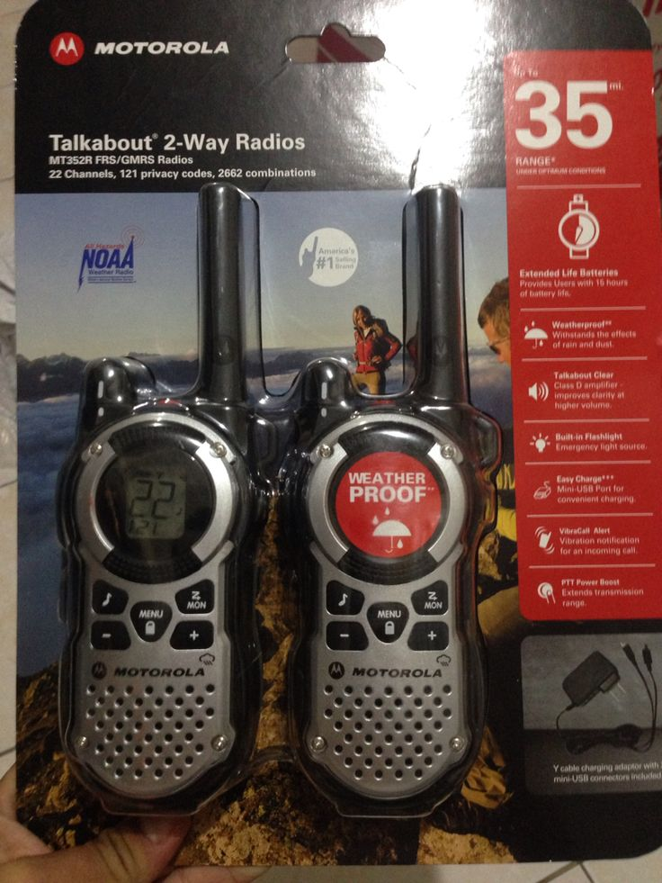 Motorola Talkabout 2-Way Radio @ P4200 | Weatherproof ( IP-54 Dust protected amd splash-proof from any direction | Up to 35Mi/55Km range | 22 Channels | 121 privacy codes, 2662 combinations )