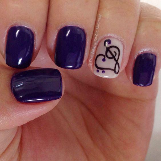 cool Heart Music note gel nail art design