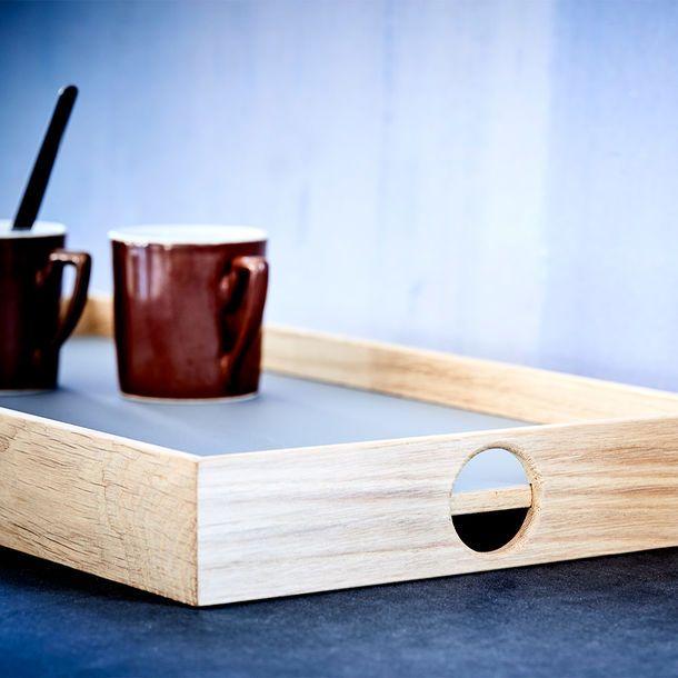Large Flip Tray in Dark Grey/Light Blue — made in Denmark by The Oak Men