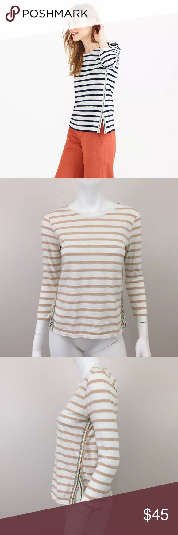 J.Crew XS Cotton Beaded Sailor Striped T-shirt EUC We took a classic boatneck T-shirt, added sparkly side stripes and then rolled the seams forward so you can actually see them from the front. Score. 	•	Cotton. 	•	Three-quarter sleeves. 	•	Hand wash. 	•	Import.  Measurements according to brand: Bust  33 Waist 26. #0155 J. Crew Tops