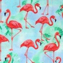 Flamingo Paradise Water Flamingos Blue by Robert Kaufman