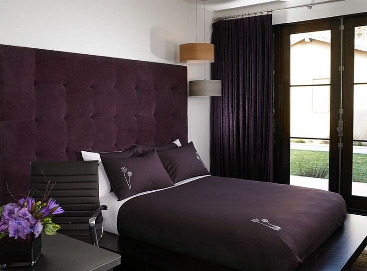 Purple velvet brings an air of luxury to the small bedroom [Design: Amy Noel