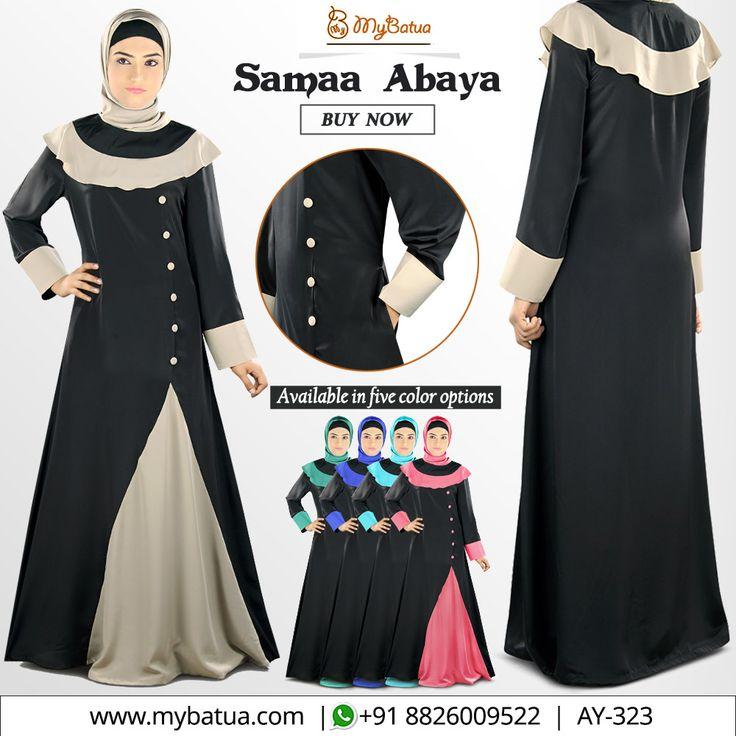 Dual colour Samaa Abaya with contrasting frill over shoulders is an excellent formal or casual wear.  #samaaabaya #weddingabaya #partywear #modestwear #crepeabaya #dailywear #casualabaya #abaya #fashion #muslimwear #style #clothing #picofday #summercollection #mybinsta #sisterhood #modestfashion #womenclothing #ootd #yaz #islamicclothing #womendress #instafashion #hijabfashion #modesty #fallstyle #modestwear