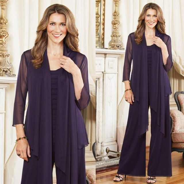 Elegant Plus Size Mother of the Bride Dresses With Jacket Chiffon Pant Suit For Women Wedding Guest Groom Formal Evening Gown
