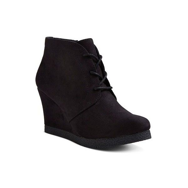 Women's Terri Lace Up Wedge Booties ($25) ❤ liked on Polyvore featuring shoes, boots, ankle booties, front lace up boots, laced up booties, lace up boots, lace up wedge ankle booties and laced boots