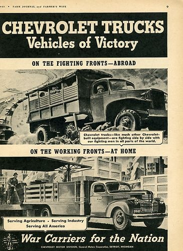 1943 Chevy Chevrolet WWII Vehicles of Victory War Farm Stake Body Truck GM Ad | eBay