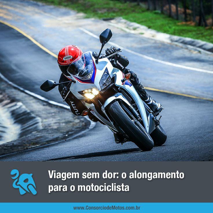 Veja na matéria alguns alongamentos bem simples que o motociclista pode fazer antes de pegar a estrada. Acesse: https://www.consorciodemotos.com.br/noticias/a-importancia-do-alongamento-antes-de-viajar-de-moto?idcampanha=288&utm_source=Pinterest&utm_medium=Perfil&utm_campaign=redessociais