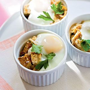 Happy Birthday, @MyPlate Recipes! We're celebrating this morning with Baked Eggs en Cocotte with Onions | CookingLight.com #myplatebirthday #protein
