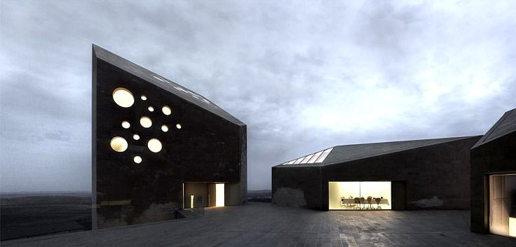 Космический индустриальный стиль дома из бетона
