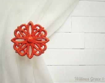 Two Metal Curtain Tie Backs / Curtain Tiebacks / Curtain Holdback / Drapery Tieback / Shabby Chic Window / Orange Home Decor / Curtain Hook
