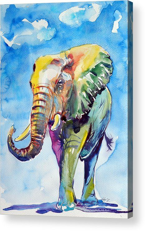 Elephant Acrylic Print featuring the painting Colorful Elephant by Kovacs Anna Brigitta