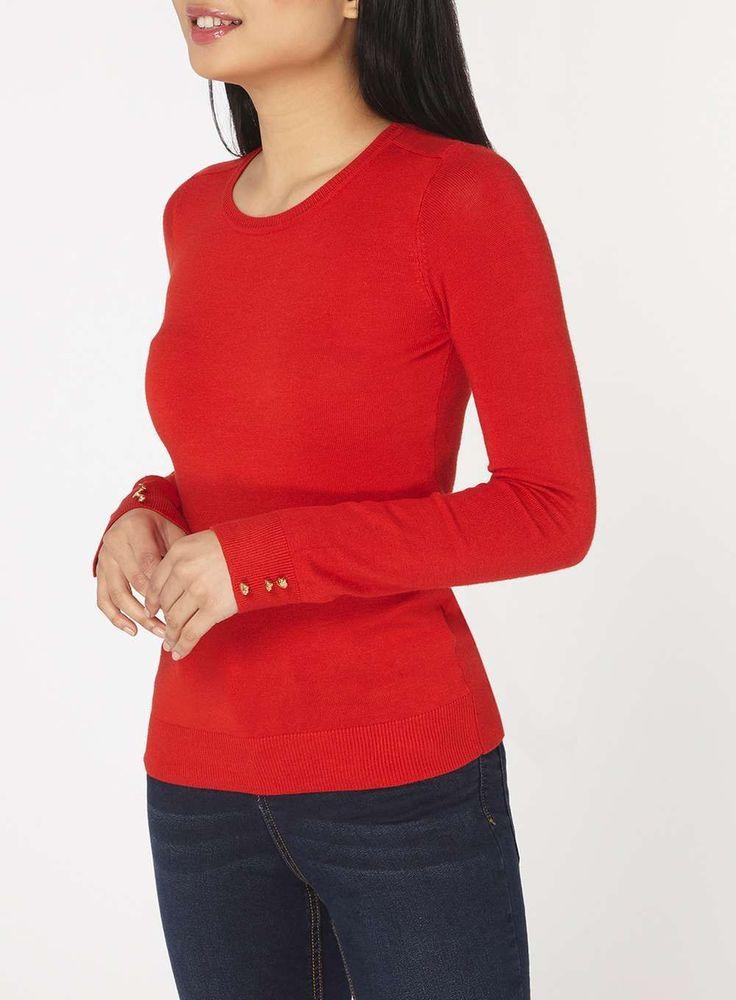 Womens Petite Red Button Cuff Jumper- Red