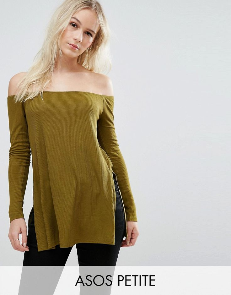 Buy it now. ASOS PETITE Off Shoulder Slouchy Top With Side Split - Green. Petite top by ASOS PETITE, Ribbed knit, Bardot neckline, Off-the-shoulder design, Split sides, Relaxed fit, Machine wash, 98% Viscose, 2% Elastane, Our model wears a UK 8/EU 36/US 4. ABOUT ASOS PETITE 5�3�/1.60m and under? The London-based design team behind ASOS PETITE take all your fashion faves and cut them down to size. Say goodbye to all your short-girl problems with our perfectly proportioned denim, day-to-nig...
