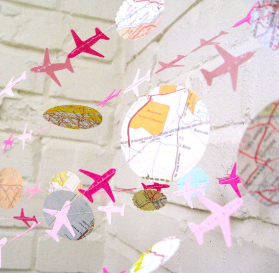 The Bon Voyage Air Plane Garland, Paper Garland, Pink, Maps, Ombre Pink, Multi colored, Maps. $12.00, via Etsy.
