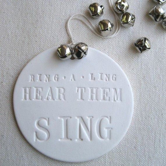 """""""Ring A Ling"""" White Clay Ornament"""
