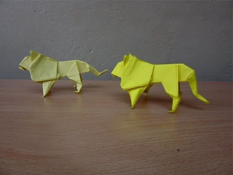 Origami. Lion of the paper. How to make origami lion - YouTube