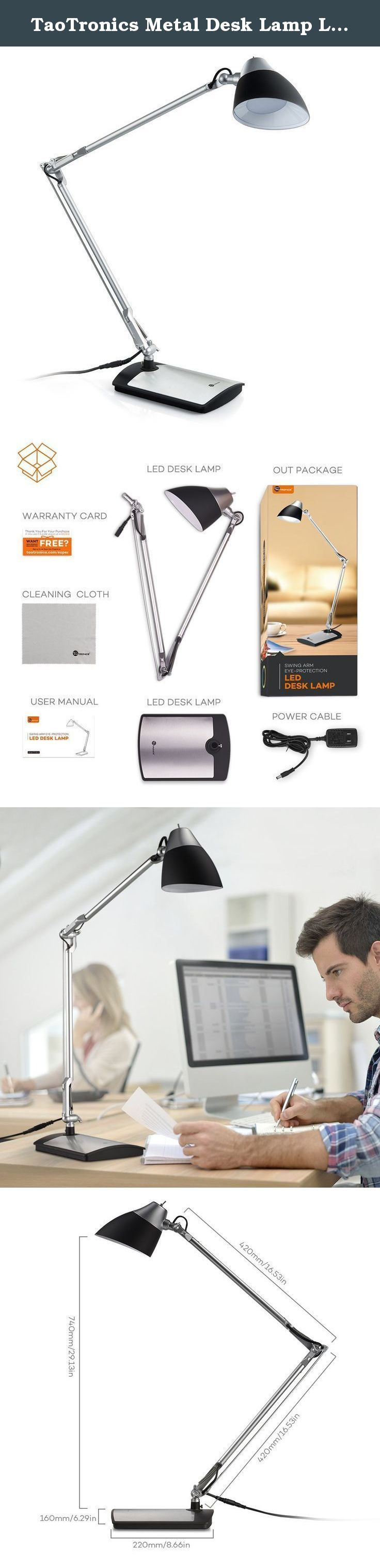TaoTronics Metal Desk Lamp LED (Flexible Arm, Rotatable Head, Eye-Friendly Design, Black Plastic + Silver Aluminum Alloy Finish), 6W. Modern Lighting Throw out your old incandescent lamps that barely illuminate your working space and welcome a modern alternative. The TaoTronics TT-DL12 LED desk lamp is a welcome addition to any home or office. Elegantly designed with energy-efficiency in mind, the lamp is ideal for reading, working, and studying. Eco-Friendly This new generation of...