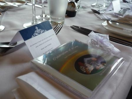table card and bride's recording