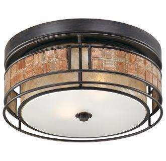 "View the Quoizel MCLG1612 Laguna 2 Light 12"" Wide Flush Mount Ceiling Fixture with Mica And Mosaic Tile Shade at Build.com."