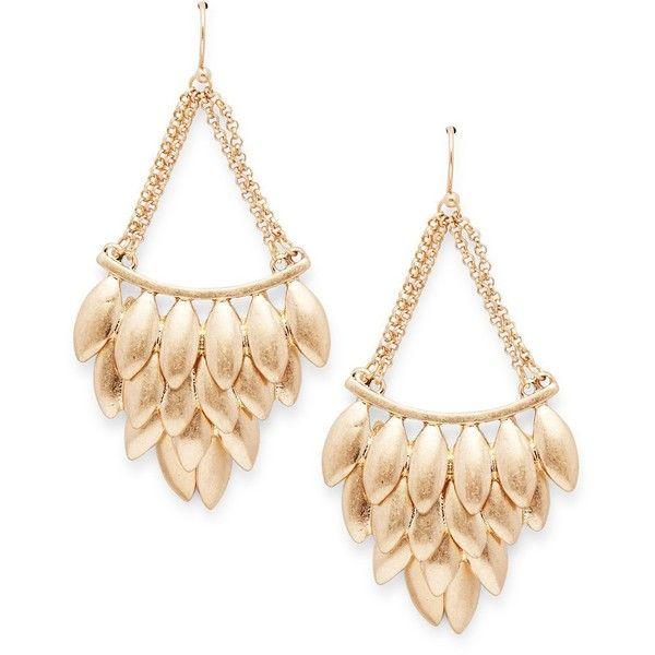 Catherine Malandrino Wild Wonder Drop Earrings ($15) ❤ liked on Polyvore featuring jewelry, earrings, gold, fish hook jewelry, drop earrings, catherine malandrino, fish hook earrings and fishhook earrings