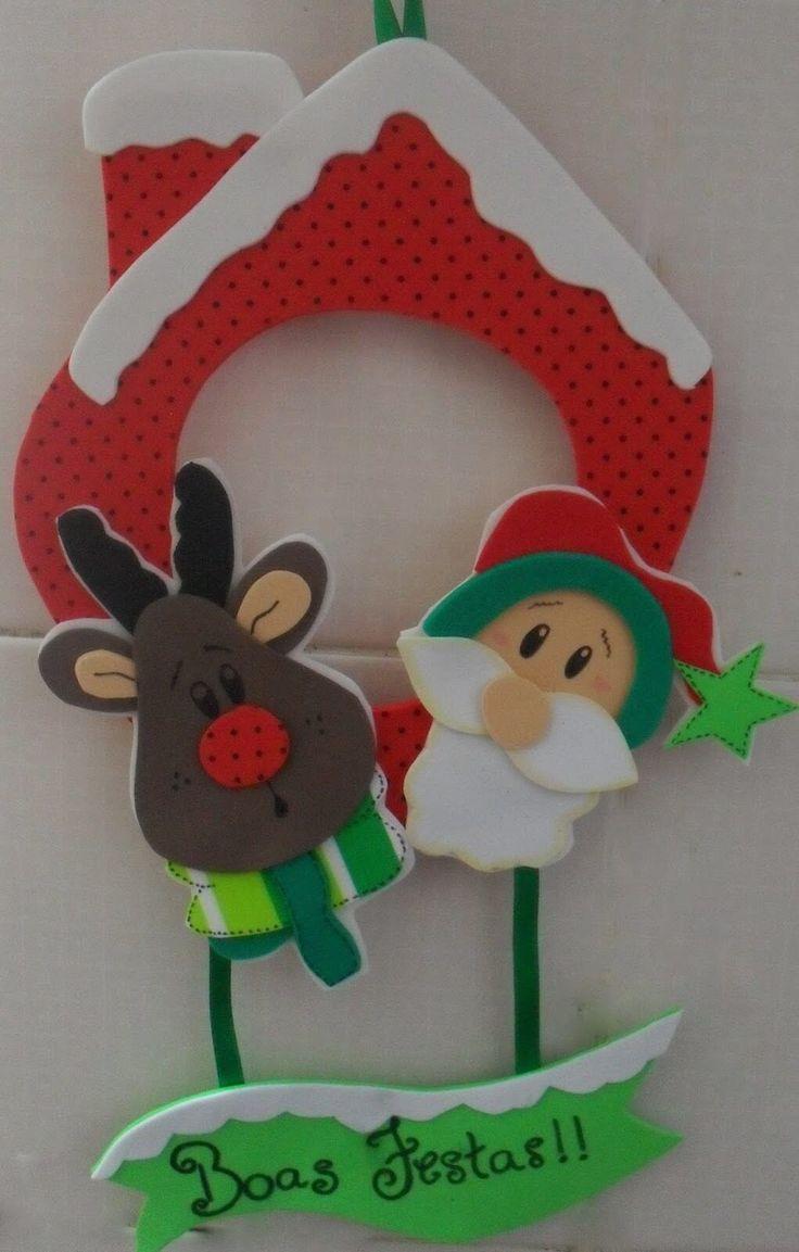 25+ ideias exclusivas de Papai noel em eva no Pinterest Molde papai noel eva, Papai noel de  -> Decoração Em Eva Natal