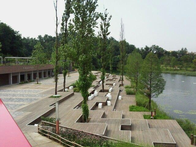 Wood deck stand, Seoseoul lake park in Seoul, Korea