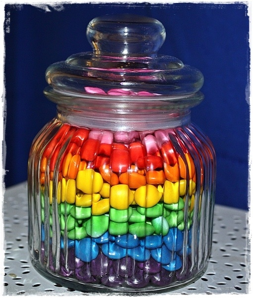 Door Prize Ideas~~Guess how many Smarties ( any candies, like M', Skittles ets..) are in the Jar?~  Kiwi At Heart: Rainbow Party!!!