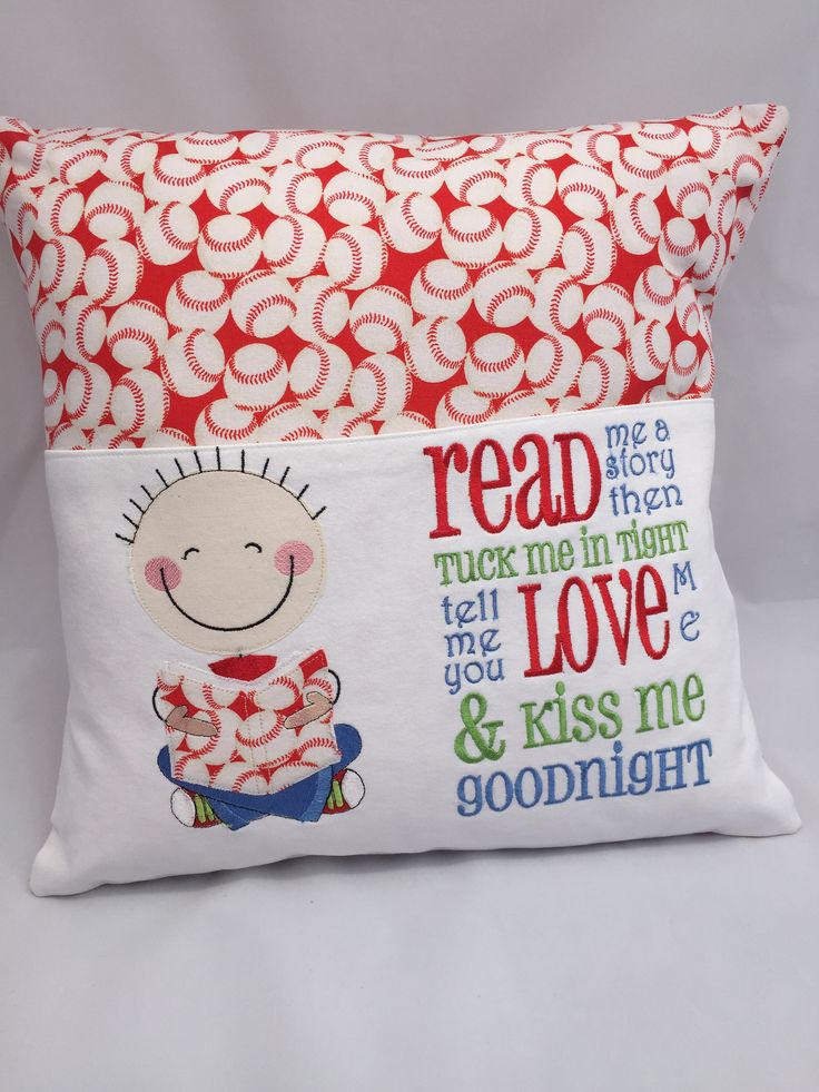 Pillow, Reading pillow, Book pocket, Boys reading pocket pillow, Red and White, Baseball fabric, 16 in pillow,  Reading poem by JazzyJoDesigns on Etsy