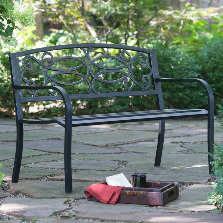 Outdoor Coral Coast Scroll Curved Back 4-ft. Metal Garden Bench - SV071FH