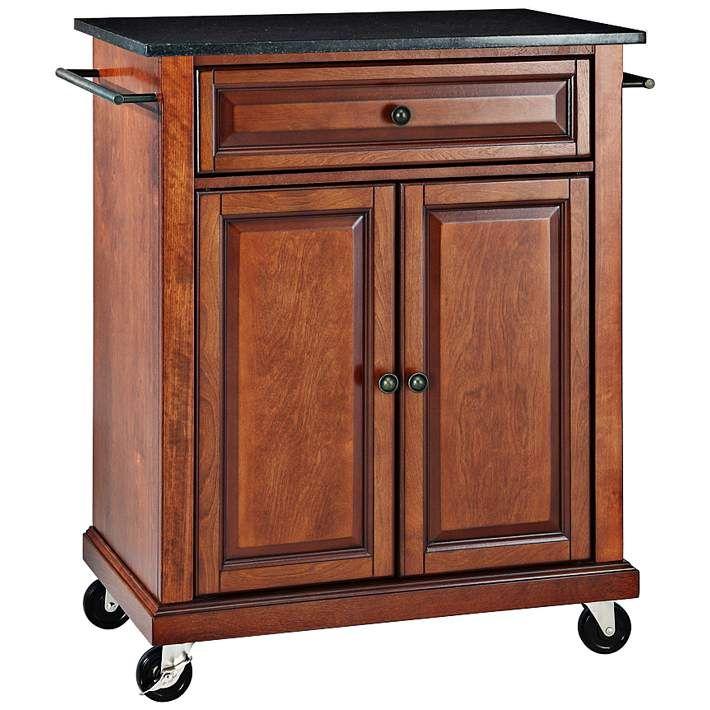 York 28 1 4 Wide Black Granite Cherry Kitchen Island Cart 7h019 Lamps Plus Portable Kitchen Island Kitchen Tops Granite Portable Kitchen