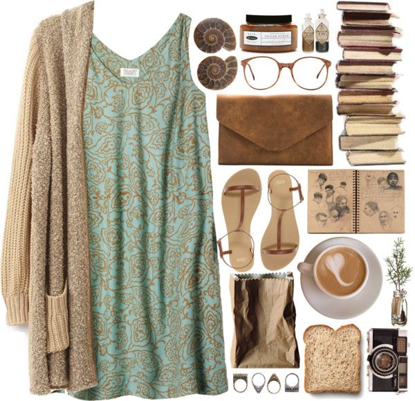 Toast smocked dress, $110 / Long sleeve cardigan / Asos shoes / Brown bag / Shell bracelet / Pull Bear black ring, $6.53 / American apparel eyewear / De luxe body cleanser / Rosenthal vase, $48