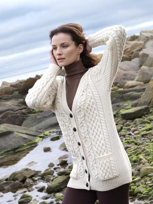 BOYFRIEND CARDIGAN X4241 [134] - $110.00 : Irish Sweaters Aran Sweater, Irish Wool Sweaters