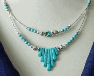 Beautiful Turquoise 2 strand spike necklace