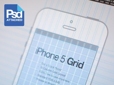 A 10-column grid for iOS design    This iPhone 5 Grid from Eddie Lobanovskiy is a great starter for creating a mobile app UI or mobile website. It's a 10-column grid he created for his own personal use, and can be downloaded as a PSD or JPG file. The grid columns are 49 pixels wide, with 17 pixel gutters, and it includes vertical gridlines, too.