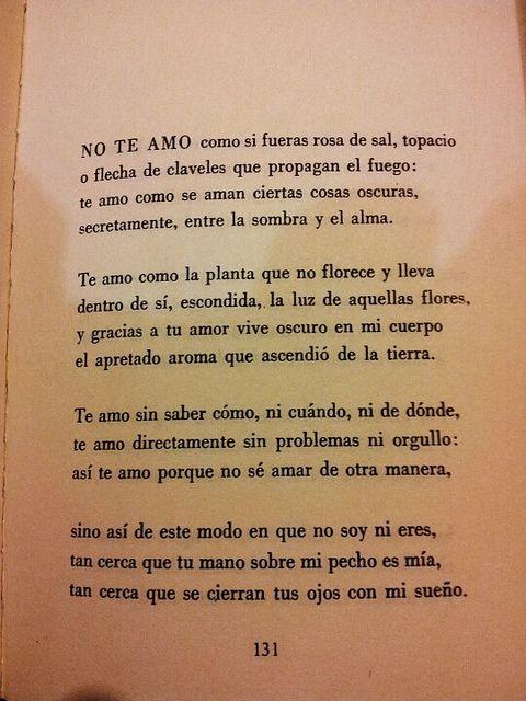 Soneto XVII. Cien sonetos de amor. Pablo Neruda.