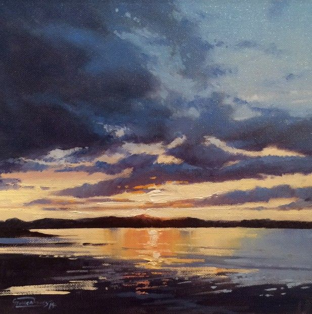 George Noakes_Sunset, Tay Estuary II_Oils_12x12 | Scottish Contemporary Art