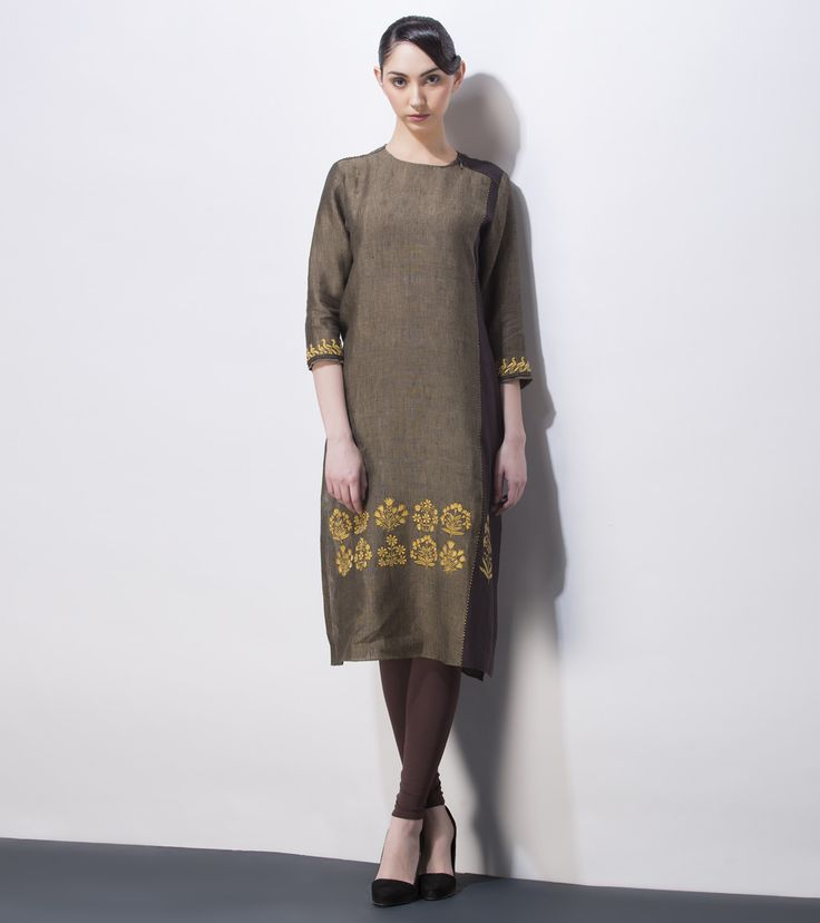 Brown Embroidered Linen Tunic