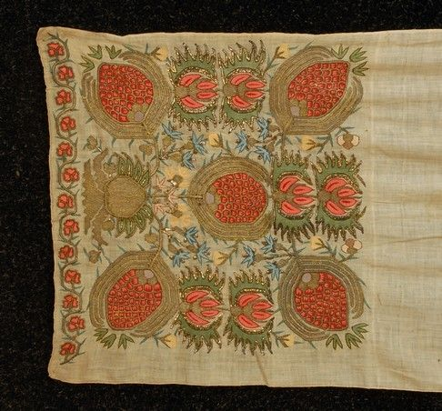 395: TWO TURKISH EMBROIDERIES, 19th C. One comprosed of : Lot 0395