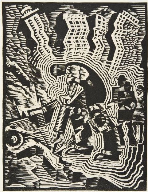 "Charles Turzak, ""Man with a Drill,"" Woodcut, ca. 1935."
