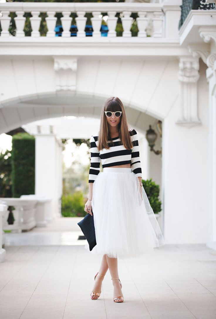 Tulle skirt & striped crop top | Margo and Me