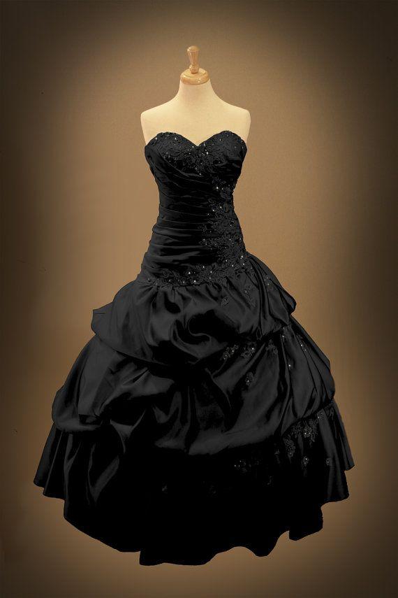 Black Gothic Wedding Dress Ball Gown by GothicWeddingDress on Etsy